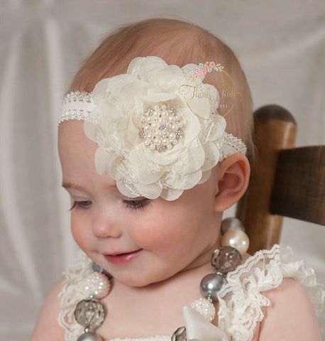 Gloria Pearls and Lace headband