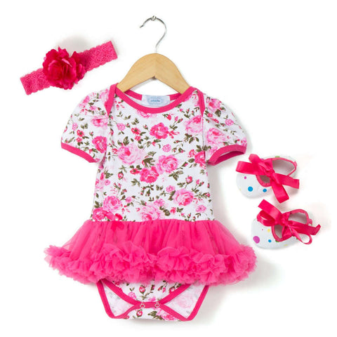 Pretty Fuchsia Floral Tutu Romper Shoes Headband Combo