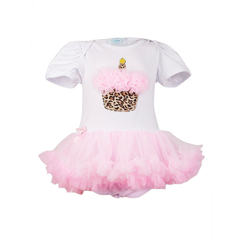 Cupcake Tutu Romper Dress with Animal print headband