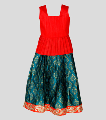 Girls ethnic wear set - Blue & red