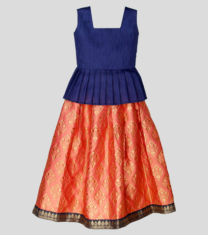 Girls ethnic wear set - Navy blue & baby pink