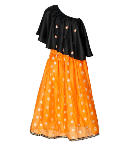 Girls ethnic wear set - Black & orange