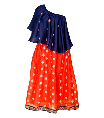 Girls ethnic wear - navy blue and red