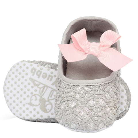 Glitters and Lace Shoes - Silvery Grey