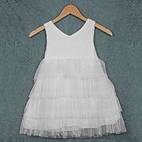 Cascade Lace Dress - White
