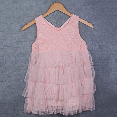 Cascade Lace Dress- Peach