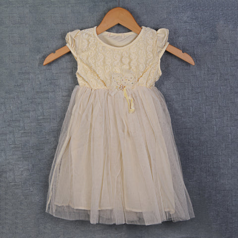 Cream Rosette Bodice dress with Net