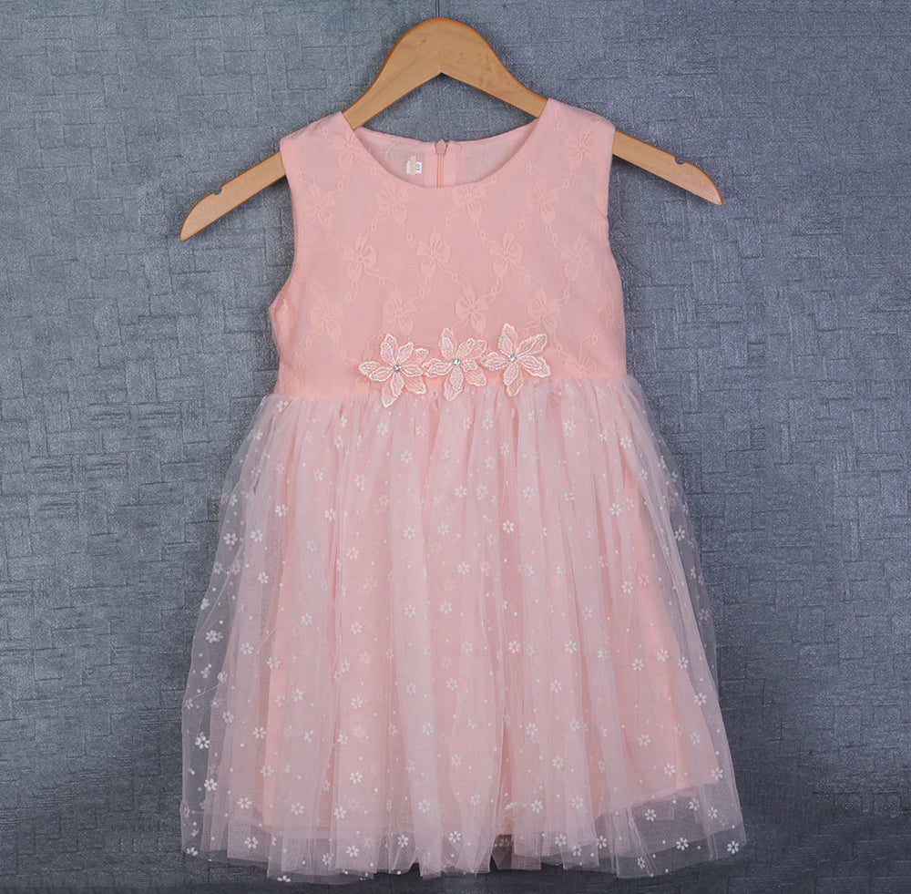 27b4cd292 Check COD Availability. Check. Peach Soft Net Dress with three pretty  Flowers ...