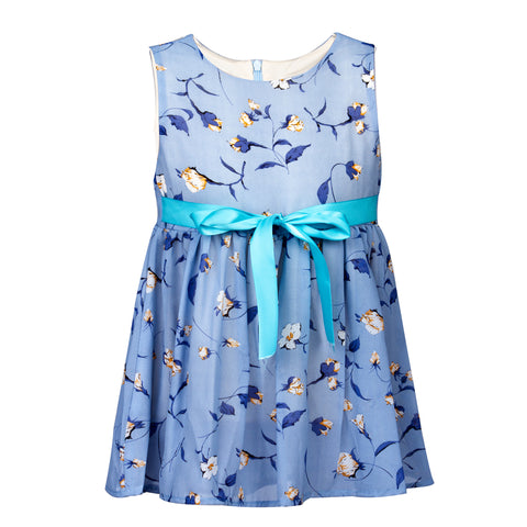 Blue base floral printed frock