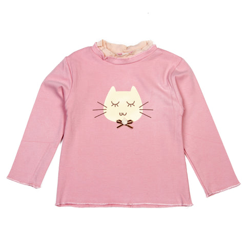 Cat printed baby pink girls top