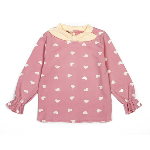 Baby pink heart printed girls top