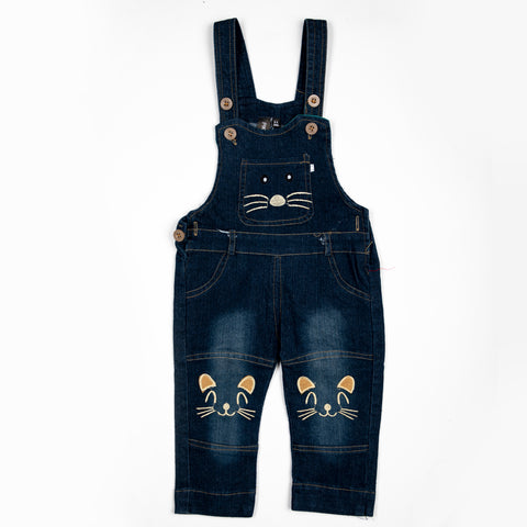 Denim Dungaree with cat embroidery work