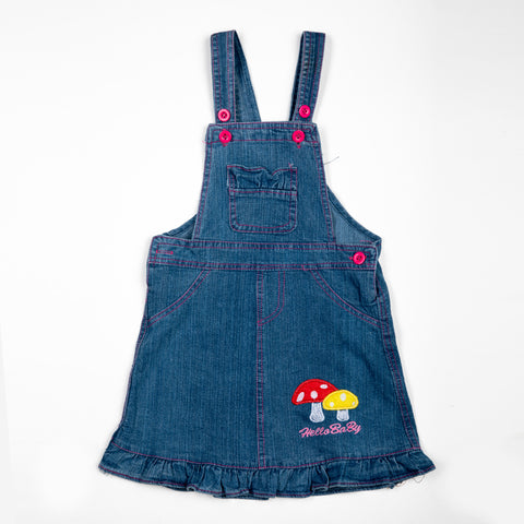 Denim Dungaree with Mushroom patch work