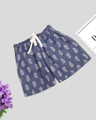 Blue base beige floral printed girls woven shorts