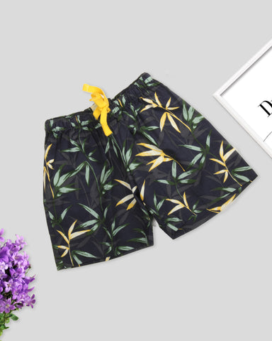 Navy blue base leaf printed girls woven shorts