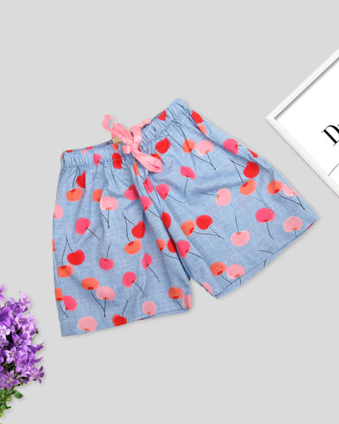 Sea blue base cherry printed girls woven shorts