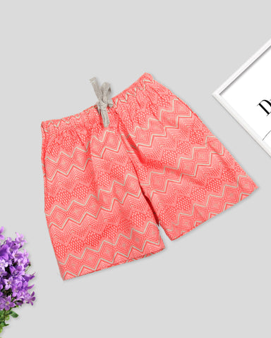 Coral base abstract printed girls woven shorts