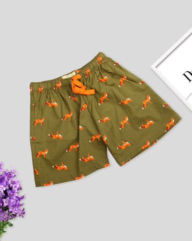 Green base fox printed girls woven shorts