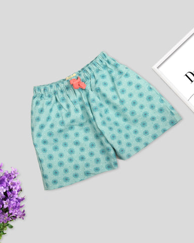 Greenish Blue base flower printed girls woven shorts