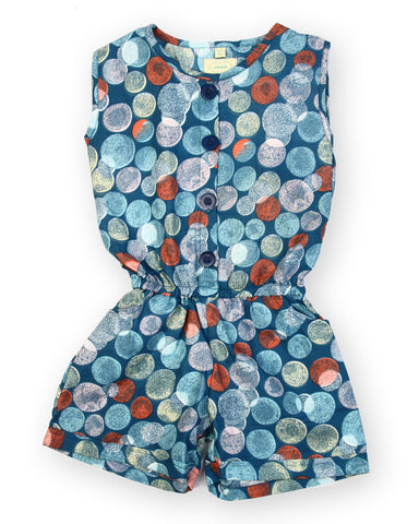 Blue base dot printed woven jumpsuits