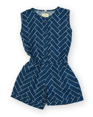 Blue base abstract line printed woven jumpsuits