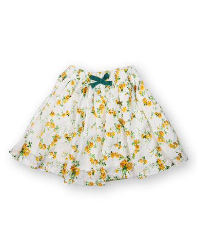 White base yellow flower printed skirt