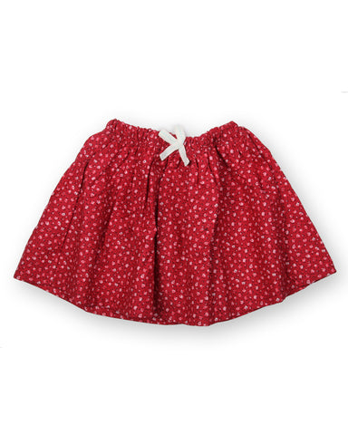 Red base flower printed skirt