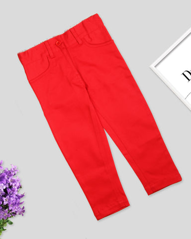 Red color girls twill pant