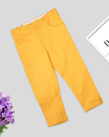 Yellow color girls twill pant