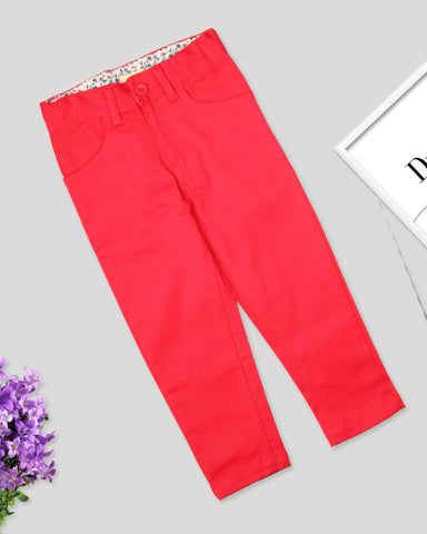 Pink color girls twill pant