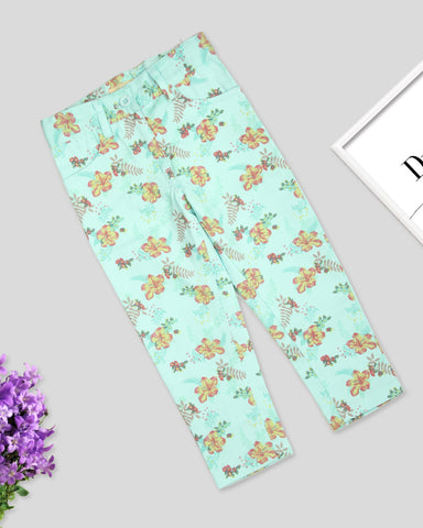 Green base floral printed twill pant