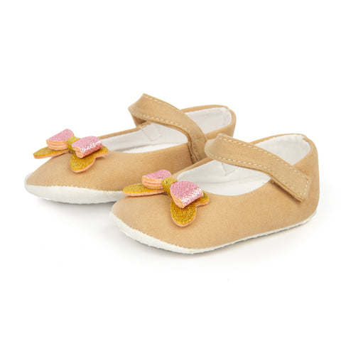 Beige Velvet Prewalker shoes with Sparkly Bow