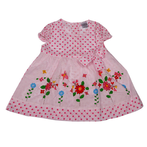 Polka Dots and Bow Frock - Pink