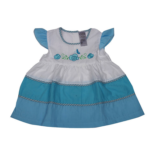 Embroidered Cotton Frock - Blue
