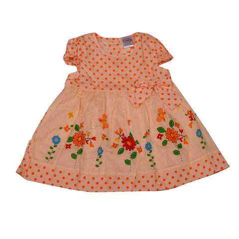 Polka Dots and Bow Frock - Orange