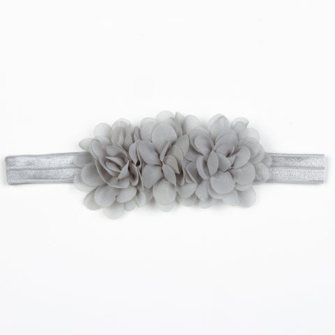 Chiffon Blossoms Headband - Grey
