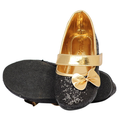 Pikaboo Essentials Black Sparkly Toddler Ballet Shoes
