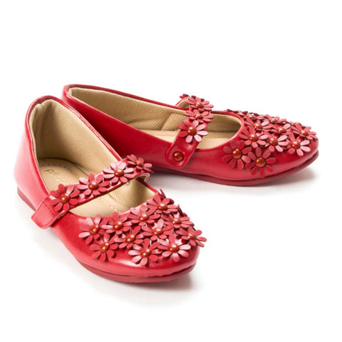 Flowery Feet Red Mary Jane Shoes