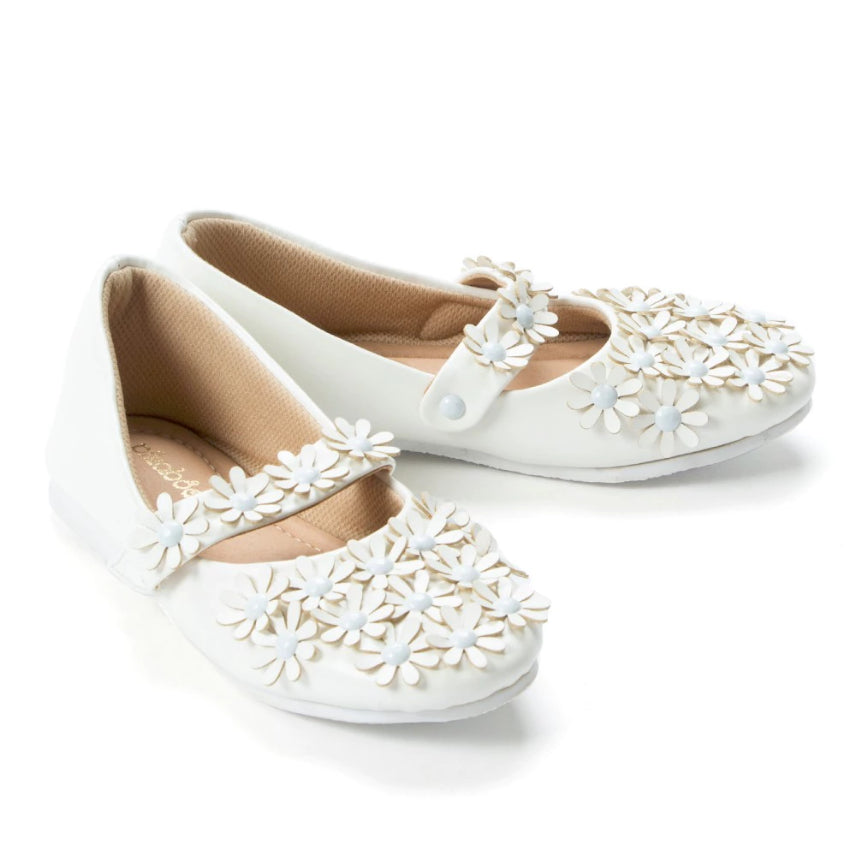 Flowery Feet White Mary Jane Shoes