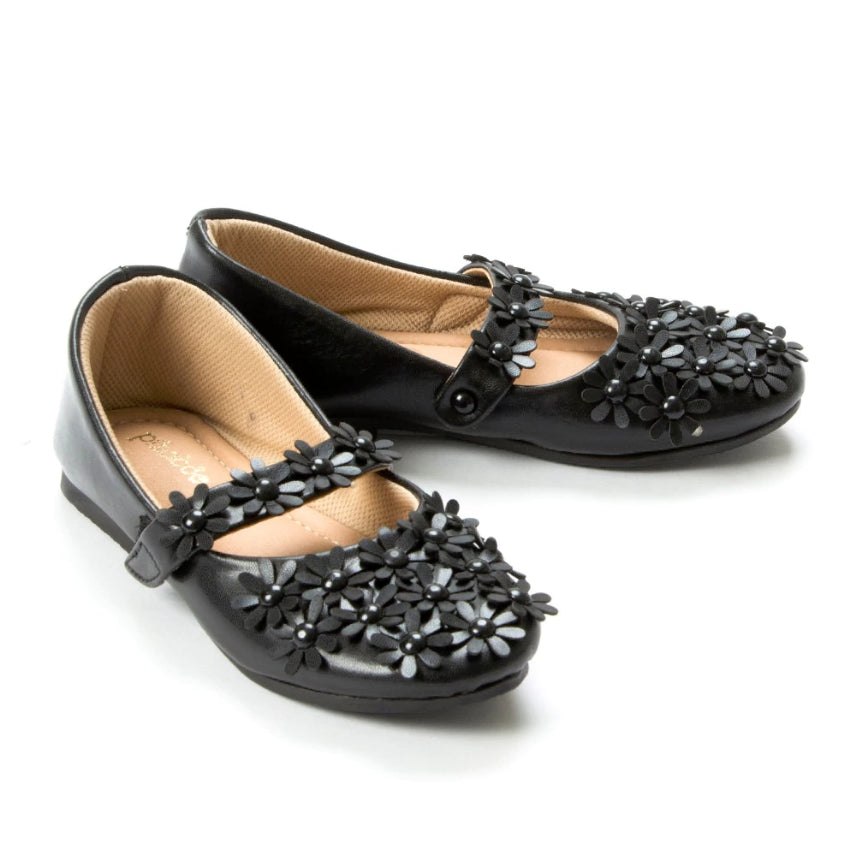 Flowery Feet Black Mary Jane Shoes