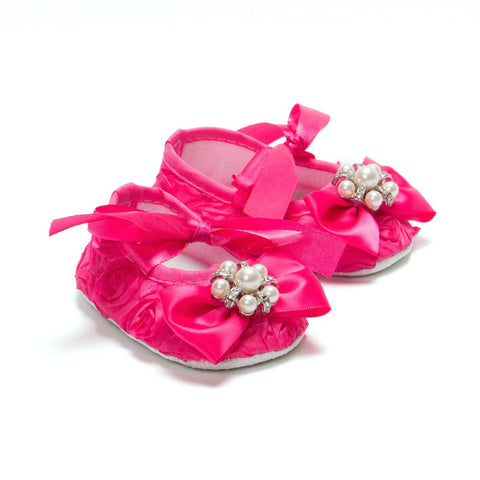 Pikaboo Pink Rosette Bow Crib Shoes Headband Combo With Pearls