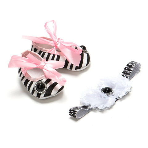 Pikaboo Zebra Print Bow Headband Combo With Black Pearl