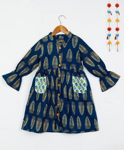 Ethnic Block Printed Blue Contrast Pockets Dress