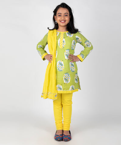 Bird Print kurti and leggings set with dupatta - Green