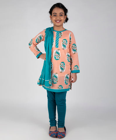 Bird Print kurti and leggings set with dupatta - Peach