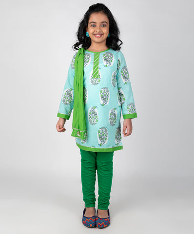 Bird Print kurti and leggings set with dupatta - Light Blue