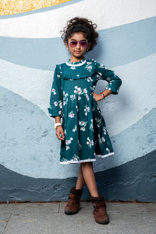 Green floral print full sleeves dress