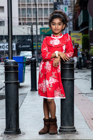 Red floral print full sleeves dress