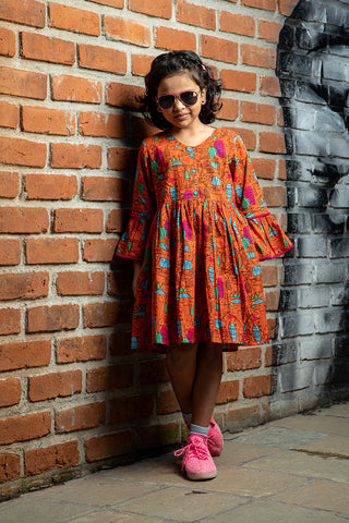 Orange printed Bell Sleeves Dress