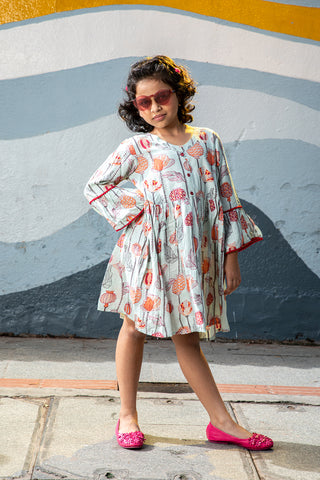 White Printed Bell Sleeves Dress